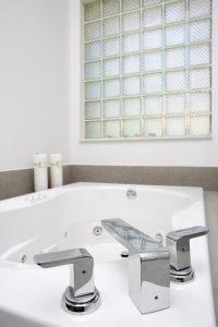 modern bathtub in bathroom remodel