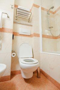 modern toilet in bathroom remodel