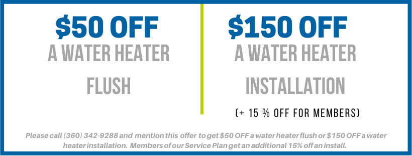 simpson plumbing special offer - $150 off water heater installation - $50 off water heater flush