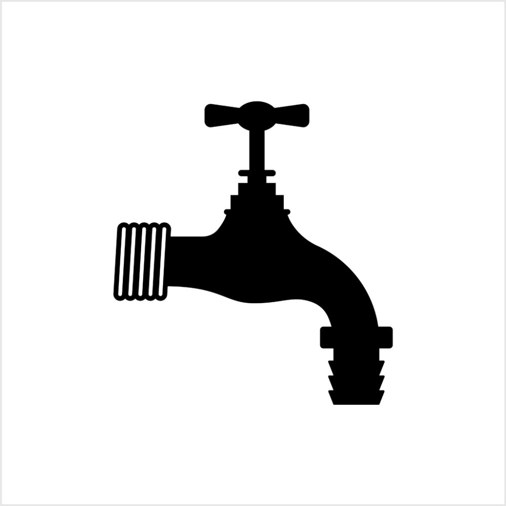 Black and white Art Illustration of outdoor faucet