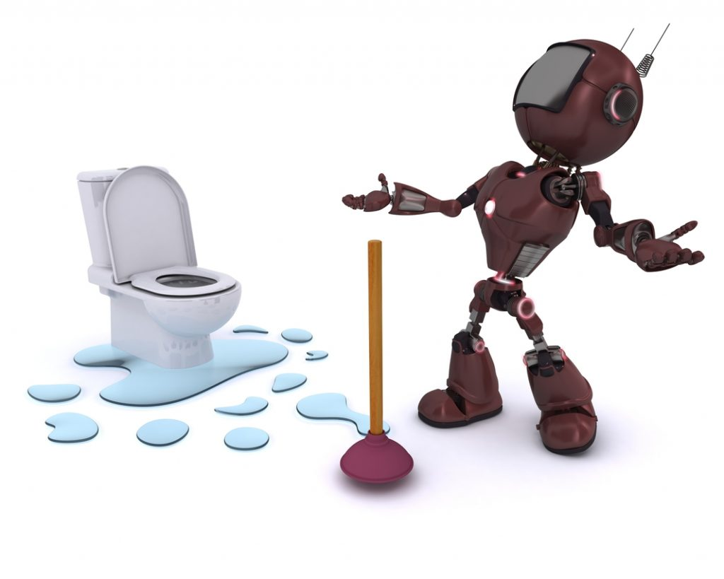 3D Render of an Android fixing a leak