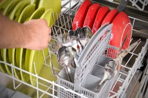A malfunctioning dishwasher can be repaired or replaced by a plumber.