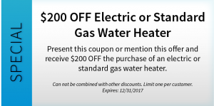 $200 OFF Electric or Standard Gas Water Heater