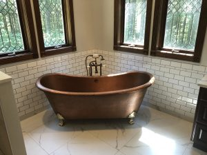 Copper Bathtub Installed by Simpson Plumbing