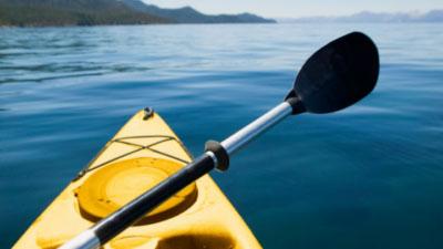 kayak on the lake during summer