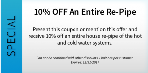 10% OFF An Entire Re-Pipe