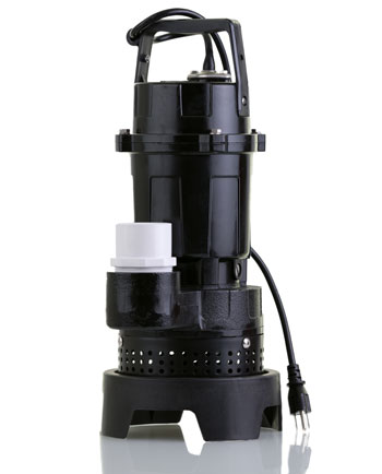 A black sump pump against a white background is seen.