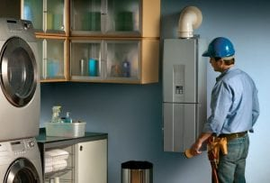 tankless water heater in laundry room