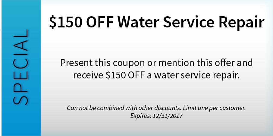 $150 OFF Water Service Repair